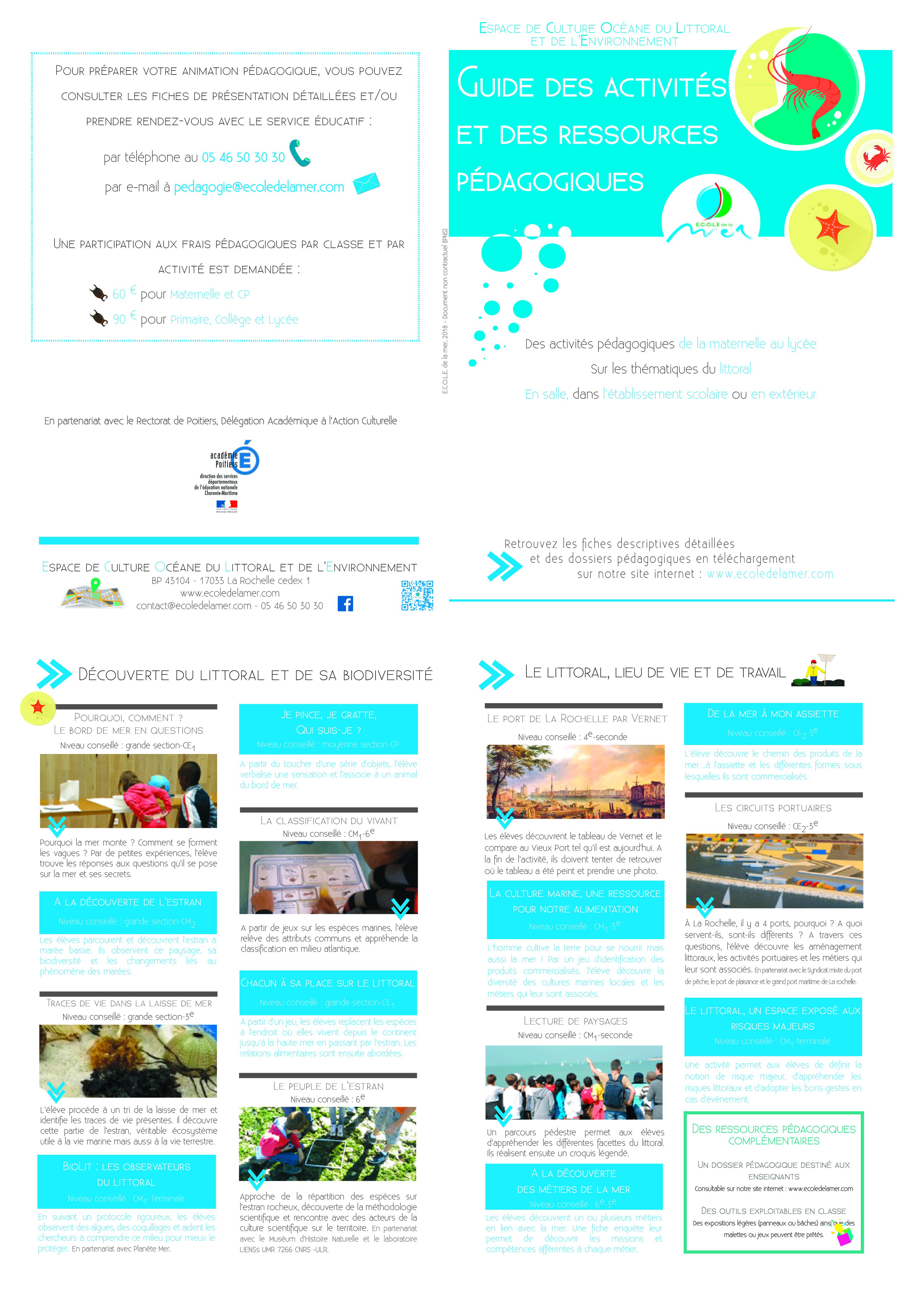 brochure pédagogique ECOLE de la mer